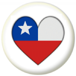 Chile Country Flag Heart 25mm Pin Button Badge